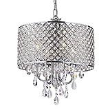 Edvivi Marya 4-Light Chrome Round Crystal Chandelier Ceiling Fixture | Beaded Drum Shade | Glam Lighting