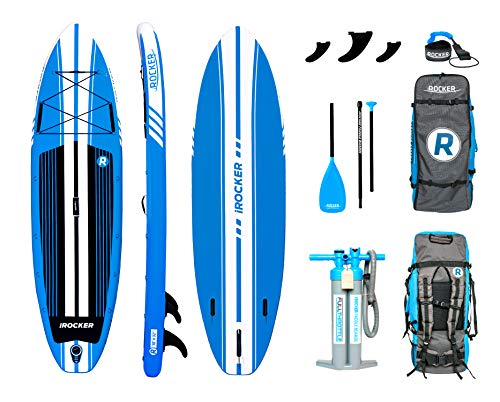 iROCKER All-Around Inflatable Stand Up Paddle Board 11' Long 32' Wide 6' Thick SUP Package (Blue 2018)