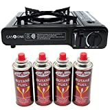 Gas ONE GS-3000 Portable Gas Stove with Carrying Case, 9,000 BTU, CSA Approved, Black (Stove + 4...