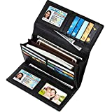 Lavemi RFID Blocking Large Capacity Luxury Leather Clutch Wallets Credit Card Holder for Women(Black)
