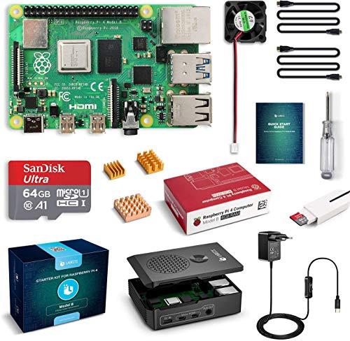 LABISTS Raspberry Pi 4 4GB Kit con Tarjeta SD 64GB, Precargada con Raspberry Pi OS, Ventiladores, 3 Disipador de Calor, 2 Micro HDMI, Caja y Lector de Tarjetas