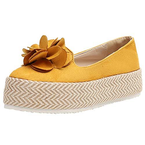 Zapatos de Plataforma para Mujer, Alpargatas de Moda, Parte Superior Baja, Fondo Grueso, Antideslizante, para Caminar Diario, decoración de Flores, Zapatos Casuales para Mujer