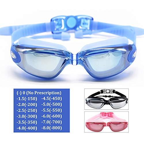 Hersvin Kurzsichtig Schwimmbrillen (0 bis -800) Kurzsichtigkeit UV400 Anti-UV Anti Nebel Sehstärke Schutzbrille mit Ohrstöpsel, Abnehmbare Nasenbrücke Perfekt für Erwachsene Männer Frauen Kinder Damen
