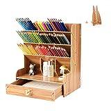 Surplex Caja de Almacenamiento de Oficina, Organizador de escritorio de madera de Gran Capacidad Multifuncional con Soporte de Bolígrafo cajón, para papelería, hogar, con soporte del móvil