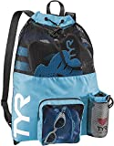 TYR Big Mesh Mummy Backpack for Swim, Gym and Workout Gear, Blue, 40-Liter Capacity