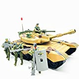 Fycooler Elite Desert Force Armored Military Tank Vehicle with 1/18 Scale Gunner Action Figure Soldier,2 Machine Guns,2 Utility Packs,2 Gunner Hatches for Kids Boys Indoor Outdoor Play Birthday Toys