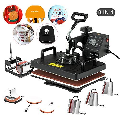 Heat Press- Nurxiovo 8 in 1 Swing Away Digital Heat Press Machine, 12x15 inches Vinyl Transfer, Multipurpose Combo Kit Sublimation Hot Pressing Machine for T Shirts, Mug, Hat, Plate, Cap…
