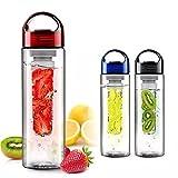 Doyime - Gourde avec infuseur à fruits et couvercle à rabat - Sans BPA - Rose - 700ml
