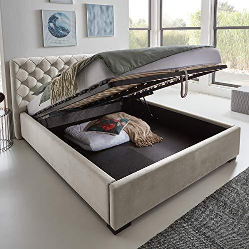 Designer Bett mit Bettkasten ELSA Samt-Stoff Polsterbett Lattenrost Doppelbett Stauraum Holzfuß schwarz (Altweiß, 180 x 200 cm)
