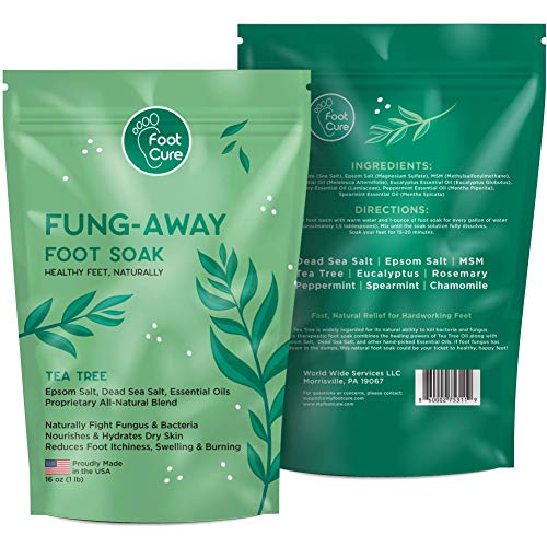 FUNG-AWAY Foot Soak with Epsom Salt - Tea Tree Oil for Toenail Fungus, Athlete's Foot and Stubborn Foot Odors - Soothe Sore and Tired Feet, Soften Calluses, 1 lb