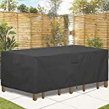 GARDRIT Patio Furniture Covers, Veranda Rectangular/Oval 100% Waterproof Patio Table Cover, 108''L x 82''W x 27.5''H Heavy Duty 600D Outdoor Furniture Set Covers, Black