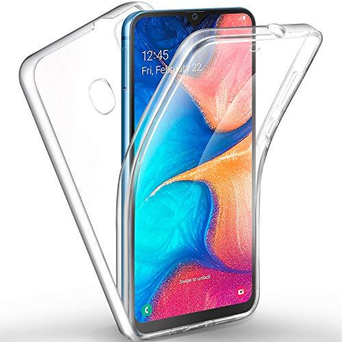 AROYI Custodia rigida in silicone con protezione a 360 gradi e morbido frontale in TPU per Samsung Galaxy A20e chiaro