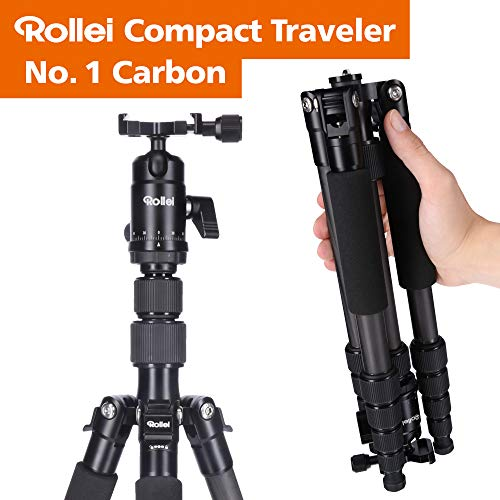 Rollei Compact Compact Traveler No I Carbon I Schwarz I Leichtes-Reisestativ I Foto-Stativ mit geringem Packmaß I Kugelkopf und Stativtasche