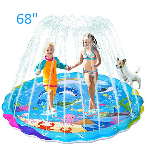 "iBaseToy Sprinkler for Kids, 68"" Inflatable Splash Pad Sprinkler for Toddlers Dogs, Sprinkle and Splash Play Mat, Sprinkler Water Toys for Outdoor Play, Fun Backyard Fountain Play Mat for Girls Boys"