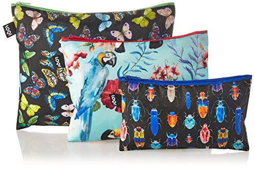 LOQI Artist Wild Insects – Birds Butterflies Zip Pockets Porta carta di identità, 32 cm,...