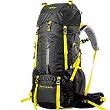 RatenKont 60 + 5L Mochila Impermeable Profesional Marco Interno Escalada Camping Senderismo Mochila Bolsa de montañismo Black 50-70L