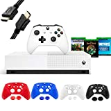 Microsoft Xbox One S 1TB All-Digital Edition Disc-free Console with Wireless Controller, Codes for Minecraft, Sea of Thieves, Fortnite Battle Royale, 1-month Live Gold Card- iPuzzle 4 Covers+ 3FT HDMI