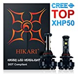 HIKARI LED Headlight Bulbs Conversion Kit -9012/HIR2,Top CREE XHP50 9600lm 6K Cool White,3 Yr Warranty