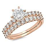 Clara Pucci 3.1 CT Round Cut Pave Halo Bridal Engagement Wedding Ring Band Set 14k Rose Gold, Size 7