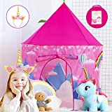 WITALENT Kids Play Tents for Girls Tent Unicorns Princess Castle Playhouse Tent Indoor Outdoor Pop Up Play Tent for Kids Toddler Child Girls Toy Birthday Xmas Gifts with Unicorns Headband & Carry Bag