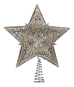 Kurt Adler Star Treetop with Ivory Pearls and Platinum Glass Glitter Measures 13.5 inches A beautiful and elegant addition to any Christmas tree décor Made of plastic and metal