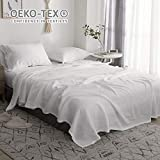 Simple&Opulence Pure Linen Sheet Set Queen-4 Piece Belgian Flax Linen Bed Sheet (1 Flat Sheet, 1 Fitted Sheet,2 Pillowcases) -Breathable Farmhouse Bedding Set-White