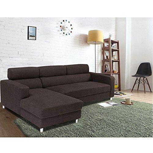 Furny Mini 5 Seater L Shape LHS Sofa (Brown)