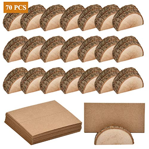 WOWOSS 20 Pcs Rustic Wood Place Card Holders, Half-Round Wooden Base Circular Table Number Photo Memo Picture Note Clip Holders and 50 Pcs Kraft Place Cards for Wedding Table Name Number Sign