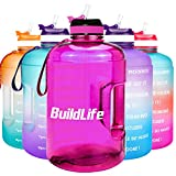 BuildLife Gallon Motivational Water Bottle with Time Marked to Drink More Daily - BPA Free Reusable...