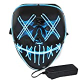 Halloween Light Up LED EL Wire Stitched Costume Mask for Halloween Festival Party Scary Cosplay Purge (Blue)