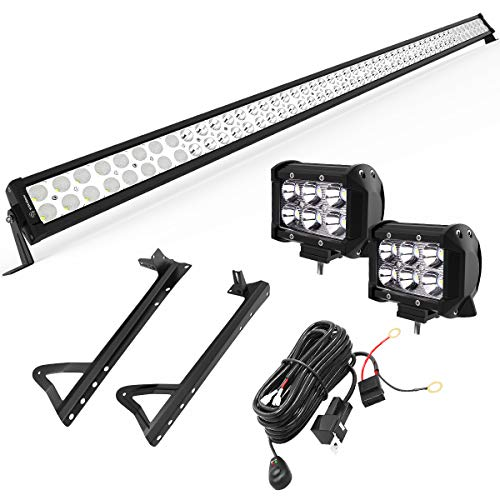 YITAMOTOR 300W LED Light Bar with Mounting Brackets for JEEP JK Wrangler