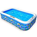 AOKIWO Family Inflatable Swimming Pool, 121' X 71' X 21' Full-Sized Inflatable Lounge Pool Kiddie Pool for Kids, Adults, Infant, Garden, Backyard, Outdoor Swim Center Water Party