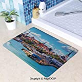 SCOXIXI Absorbent Super Cozy Rectangle Kitchen Bathroom Carpet Scenic Summer of Old City and Sea Port in Harbor Estonia Historical Heritage Print Washable Porch Floor Mat Carpet.W23.6xL35.4(inch)