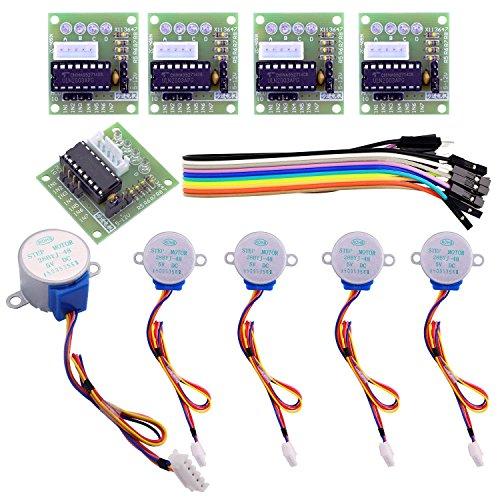 Motore passo-passo (Stepper motor) con un'interfaccia standard direttamente collegabile A, B, C, D,il LED a 4 fasi indica lo status del motore 5 line 4 phase puó essere usato con ULN2003 chip driver, connetti alla 2 phase , supporta la development bo...