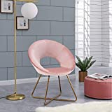 Duhome Modern Home Office Chairs,Upholstered Vanity Chairs Make-up Stool for Dining Room Contemporary Velvet Arm Leisure Chairs for Bedroom 1 pcs, Salmon Pink