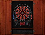 Viper by GLD Products Metropolitan Solid Wood Cabinet & Electronic Dartboard Ready-to-Play Bundle: Premium Set (800 Dartboard and Darts), Cinnamon Finish