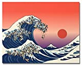 HVEST Great Wave Canvas Wall Art Surfing at The Sea Artwork Sunset Painting for Living Room Bedroom Bathroom Wall Decor,Stretched and Framed Ready to Hang,16x12 inches