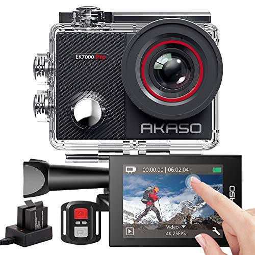 AKASO Action Cam 4K WiFi,Touch Screen,Telecomando,Angolo Variabile,Giroscopio Antitremore,Fotocamera Subacquea 40m,Caricabatterie con 2 Batterie 1050mAh x2 e Kit di Accessori(EK7000Pro).