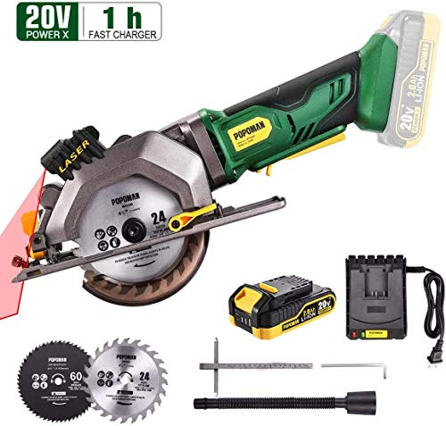 Circular Saw Cordless, POPOMAN 4-1/2' Mini Saw 20V, 1H Fast Charger, 9.5'' Base Plate, One Hand Control, 2.0Ah Battery, Laser Guide, Cutting Depth 1-11/16'' (90°), 1-3/8'' (0°-45°), Wood metal Cuts