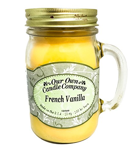 Our Own Candle Company French Vanilla Scented 13 Ounce Mason Jar Candle Company, 13 oz,