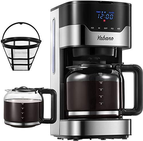 Macchina Caffe, Macchina Caffe Americano Programmabile con Display LED Pulsanti Touch, Intensità dell'Aroma Regolabile, 12Tazze Caffettiera Americana Digitale con Filtro Permanente, 1.5L, Acciaio Inox