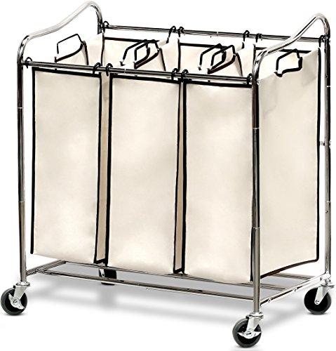 Simple Houseware Heavy-Duty 3-Bag Laundry Sorter Cart,...