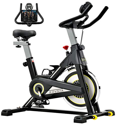 Exercise Bike, SOVNIA Stationary Bikes, Fitness Bike with iPad Holder, LCD Monitor and Comfortable Seat Cushion, Whisper Quiet Indoor Cycling Bikes Perfect for Home Gym Workout