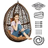 GREENSTELL Hammock Chair with Hanging Kits, Cushion & Pillow, Egg Large Rattan Wicker Swing Hanging Chair, Multifunctional Swing Chairs for Indoor, Outdoor, Patio, Garden (Brown Chair+Brown Cushion)
