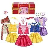 BiBiblack Girls Princess Costume Dress up Trunk for Kids Ages 3-6 Years (3-6 Years- Girls Dress up Trunk) Pink