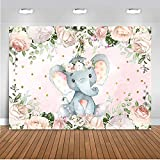 Mocsicka Elephant Baby Shower Backdrop 7x5ft Gender Reveal Cute Elephant Floral Photo Booth Backdrops Elephant Birthday for Girl Photography Background