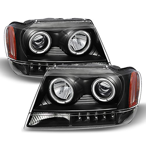 ACANII - For Blk 1999-2004 Jeep Grand Cherokee LED Halo Projector Headlights 99-04 Driver + Passenger Side