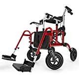 Health Line Massage Products Safety 2 in 1 Rollator-Transport Chair, with 10 Inch Big Wheels, Adjustable Paded Armrest and Safety Belt, Mobility Rolling Walker for Senior, Elderly & Handicap, Red