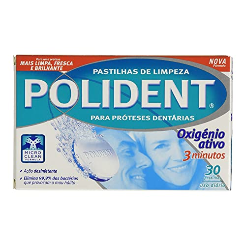 Polident, Oxígeno Activo, Tabletas Limpiadoras para Prótesis Dentales, 3 Minutos, 30 Tabletas