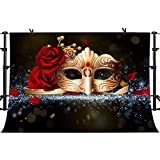 PHMOJEN Golden Mask Red Rose Photography Backdrop for Masquerade Theme Party Photo Background Vinyl 10x7ft LYPH212